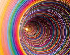 construction paper art work by jen stark Jen Stark, Kaleidoscope Art, Construction Paper Art, Taste The Rainbow, No Rain, World Of Color, Kirigami, Stop Motion, Fractal Art