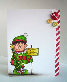 Christimas, card & Copic.    Nice use of a little bit of patterned paper, along with a Copic coloured image (could be any image).