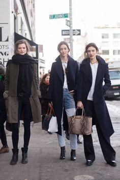 Kasia Struss , Alana Zimmer and Jacqueliyn Jablonski New York Fashion Week autumn winter 2014-15 #NYFW #StreetStyle