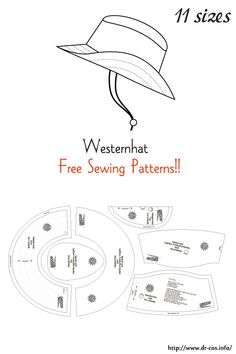 This is the pattern of a Westernhat. Hat Patterns To Sew, Sewing Patterns Free, Free Sewing, Clothing Patterns, Diy Leather Hat, Leather Craft, Sewing Clothes, Diy Clothes, Leather Working Patterns