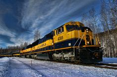 """The Alaska Railroad """"Ski Train"""" in Curry, Alaska. X-country skiers pile in the train and ride it north of Anchorage for a day of skiing. Alaska Railroad, Rolling Stock, Locomotive, Skiing, 4 Hours, Country, Trains, Inspired, Cars"""