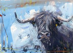 Black Highland by James Bartholomew – Janet Bell Gallery Colorful Paintings, Animal Paintings, Animal Drawings, Watercolor Animals, Watercolor Art, Highland Cow Print, Highland Cattle, Animal Painter, Cow Pictures