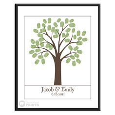 Thumb Print Guest Book  Finger Print Tree   11x14  50 by peachwik, $30.00...Could have family members do thumbprints for 50th anniversay