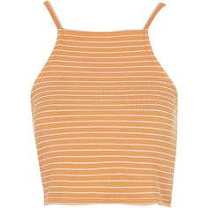 TOPSHOP PETITE Exclusive Striped Crop Top ($22) ❤ liked on Polyvore featuring tops, crop tops, shirts, tank tops, petite, yellow, jersey shirts, yellow jersey, petite shirts and beige crop top