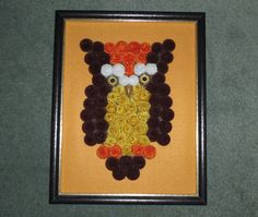 Vintage Finished Hand Made Fuzz Ball Pipe Cleaner Boho OWL Framed Wall Art, GUC! #HandmadeVintage