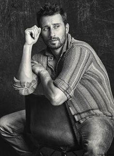 Matthias Schoenaerts poses for a black & white image for Men's Fashion.