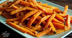 A simple sweet potato fries recipes for those times when you have a craving for carbohydrates on the Paleo diet. Sweet Potato Fries Seasoning, Paleo Sweet Potato Fries, Best Weight Loss Foods, Banting Recipes, Paleo Recipes Easy, Easy Chicken Recipes, Real Food Recipes, Diet Recipes, Cooking Recipes