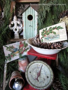 Christmas, winter garden party, bird theme, vintage postcards, birdhouses, scale, pine cones, terracotta pots, glass bird ornaments