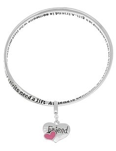 Friend poem poet mobius enamel heart charm bangle bracelet engraved A friend is someone *** Check out the image by visiting the link.
