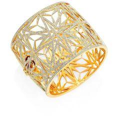Adriana Orsini Large Statement Pavé Cuff Bracelet ($495) ❤ liked on Polyvore featuring jewelry, bracelets, apparel & accessories, gold, cuff bangle, 18 karat gold jewelry, art deco jewelry, deco jewelry and pave jewelry