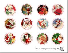 vintage santa toppers for cupcake toppers, gift tags, etc. FREE PRINTABLE
