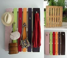 Möbel aus Holz Paletten – 46 einzigartige Tipps für Sie - aufhänger flur kleider hut taschen bunt platten holz