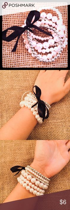 Cute black ribbon pearl bracelet set!🎀✨ -Brand new✨  -Super cute & classy appearance✨ - Pearls (plastic) & silver are tied together with a silky black ribbon 🎀✨ Kohls Accessories