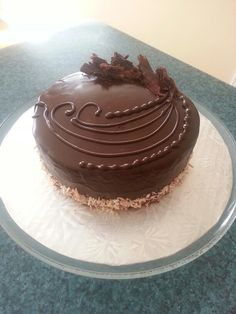 Chocolate cake with chocolate ganache.