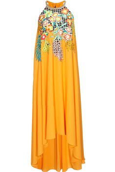 Mango yellow embroidered asymmetrical maxi dress available only at Pernia's Pop-Up Shop.