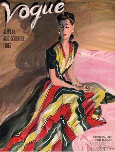 1940's Vogue vintage fashion style color photo print ad model magazine 40s color block stripe red yellow black evening gown illustration formal dress long war era