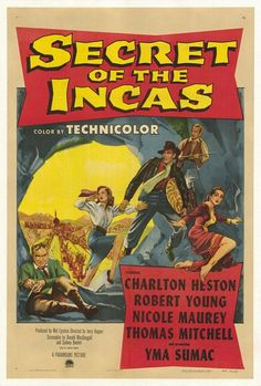 USA poster for Secret of the Incas - an old Charlton Heston movie that is similar to Indiana Jones