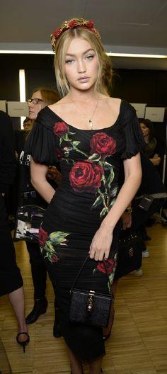 Gigi Hadid Backstage at Dolce & Gabbana Women's Winter 2016 Fashion Show