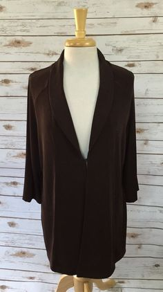 Chico's Travelers Solid Chocolate Brown Slinky Travel Knit Cardigan size 3 #Chicos #Cardigan #Casual