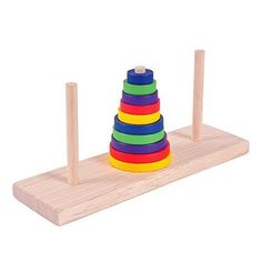 KINGOU Wooden Colorful Tenstorey Tower of Hanoi Logic Puzzle Brain Teaser Intellectual Toy -- For more information, visit image link.Note:It is affiliate link to Amazon.