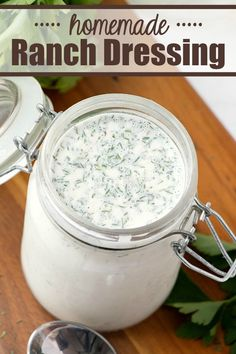 Homemade Ranch Dressing from scratch! It's fresh, easy, flavorful - and so much better than anything you will buy at the store! Only 1g of carbs per serving! Ranch Dressing Recipe, Homemade Ranch Dressing, Salad Dressing Recipes, Salad Dressings, Great Recipes, Dinner Recipes, Favorite Recipes, Amazing Recipes, Delicious Recipes