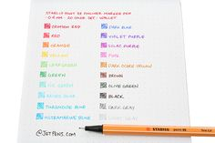 Stabilo Point 88 Fineliner Marker Pen - 0.4 mm - 20 Color http://www.jetpens.com/Stabilo-Point-88-Fineliner-Marker-Pens/ct/1236