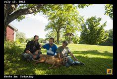 Rowan with his parents at the farm.