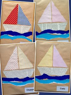 Bateaux pour couverture cahier would make a cute quilt Boat Crafts, Ocean Crafts, Summer Crafts For Kids, Art For Kids, Sailboat Craft, Transportation Crafts, Art N Craft, Preschool Crafts, Preschool Activities