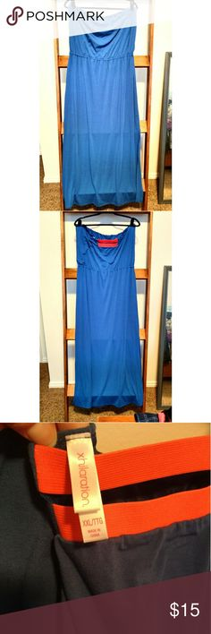 Xhilaration Cobalt Blue Strapless Maxi Dress XXL Bright Blue Maxi Dress w/ Side Slits and Orange Straps In Back. Worn Once. Xhilaration Dresses Strapless