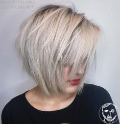 Chin-Length Choppy Ash Blonde Bob - 50 Classy Short Bob Haircuts and Hairstyles with Bangs - The Trending Hairstyle - Page 8 Short Haircuts With Bangs, Bob Haircut With Bangs, Short Haircut Styles, Long Bob Hairstyles, Short Hair Cuts, Short Bob Updo, Virtual Hairstyles, Classy Hairstyles, Short Bangs