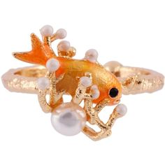 Les Néréides ATLANTIDE FISH AND PEARL ADJUSTABLE RING ($92) ❤ liked on Polyvore featuring jewelry, rings, jewelry rings, red, polish jewelry, white pearl ring, pearl jewellery, octopus ring and pearl jewelry