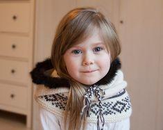 Knit fox hood cowl Rene  PDF knitting pattern  in baby