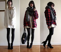 Large sweater and tights - love this look for autumn season!