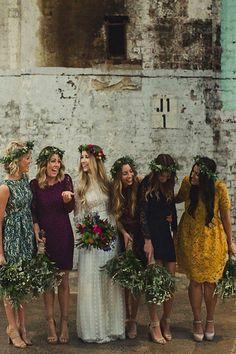 Dark tone mismatched bridesmaid dresses #bridesmaid #mismatched