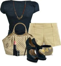 A fashion look from January 2013 featuring blue t shirt, short shorts and high heel shoes. Browse and shop related looks. Cute Summer Outfits, Summer Wear, Spring Summer Fashion, Cute Outfits, Summer Chic, Formal Outfits, Spring Style, Summer Time, Diva Fashion