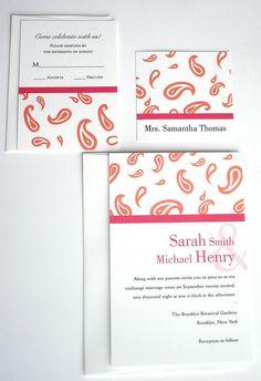 Wedding Invitation   Modern Hot pink orange by alamodebride, $1.75
