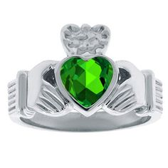 Emerald Birthstone Heart Irish Claddagh Symbol Men's Wedding Ring In White Gold Christmas 2014 Holiday Jewelry Deals and Sales At Gemologica.com. Xmas Gift guide, Gift Ideas For Him, Gift Ideas For Her, Gift Ideas For Kids. Give the Gift of Fine Jewelry From the Gemologica.com Online Jewelry Store. Unique Gifts, Personalized Gifts, Gift Finder For Men, Women, Children @ GEMOLOGICA.COM