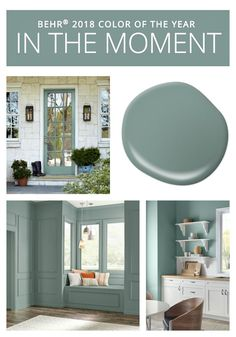 Colors of the Year BEHR Paint 2018 Color of the Year is In the Moment.BEHR Paint 2018 Color of the Year is In the Moment. Behr Paint Colors, Paint Color Schemes, Bedroom Paint Colors, Interior Paint Colors, Paint Colors For Home, Interior Design, Bathroom Colors, Interior Door, Kitchen Colors