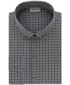 Stay comfortable through the day and into night with the comforting performance features of this strikingly modern Techni-Cole plaid dress shirt from Kenneth Cole Reaction. | Cotton/polyester/spandex