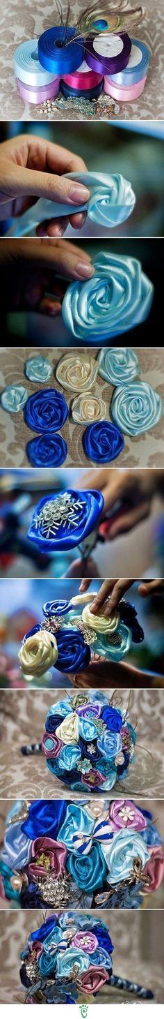 Peacock design ribbon flower