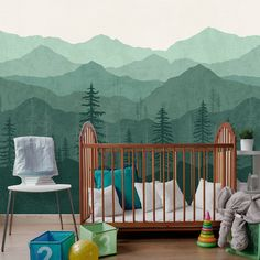 Teal Ombré Mountain Wallpaper Forest Tree and Moun - Murales Pared Exterior Baby Bedroom, Baby Boy Rooms, Nursery Room, Kids Bedroom, Kids Rooms, Babies Nursery, Room Baby, Mountain Mural, Mountain Nursery