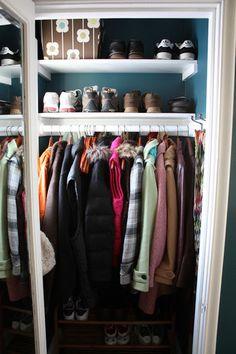 mirror inside coat closet lower floor. bright colored closets?