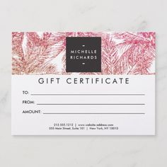 Shop Tropical Pink/Bronze Glitter Palms Gift Card created by Personalize it with photos & text or purchase as is! Gift Certificate Template, Gift Certificates, Buissness Cards, Gift Voucher Design, Glitter Background, Gift Vouchers, Etsy Handmade, Tropical, Cards Against Humanity