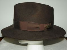 26a66aebbe4 Details about Flex Felt Wool Hat Wide Brim Fedora Men s Large Brown Indiana  Leather Band USA