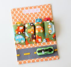 Toy Car Wallet with Road - Includes 4 Cars. $20.00, via Etsy.