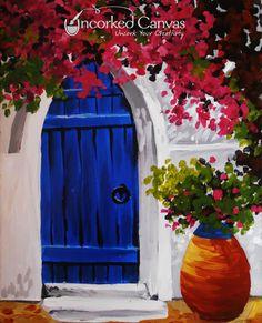Greek Doorway from Uncorked Canvas (Tacoma's premiere paint & sip studio) UncorkedCanvas.com