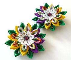 Kanzashi  Fabric Flowers. Set of 2 hair clips. Yellow and от JuLVa