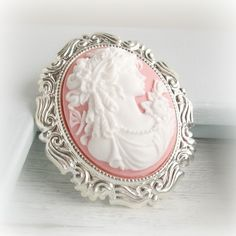 Pink Cameo Brooch Silver Cameo Brooch White Lady Silhouette Victorian Cameo Pin Classic Vintage Style Cameo Jewelry Shabby Cottage Chic. $23.00, via Etsy.
