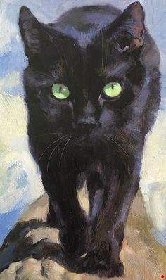 cat painting by Katya Minkina - cat Animal Paintings, Animal Drawings, Black Cat Painting, Black Cat Drawing, Cat Face Drawing, Illustration Art, Illustrations, Watercolor Cat, Beautiful Cats