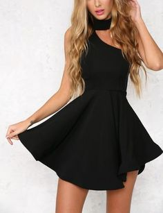 **One Sided Cut Out Skater Dress** (More Colours)